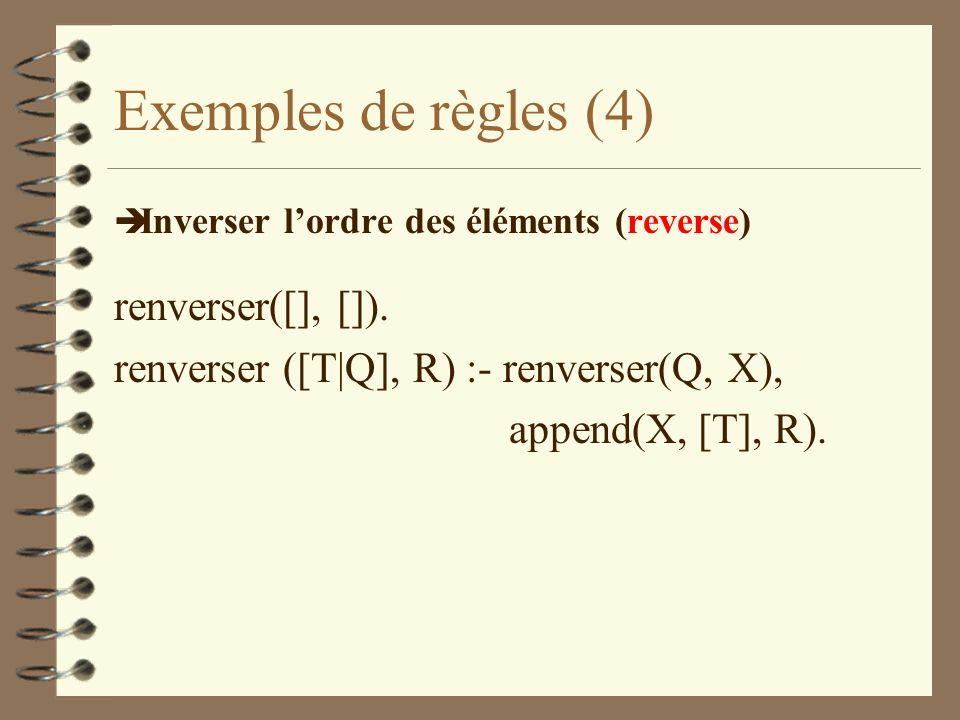 Exemples de règles (4) renverser([], []).